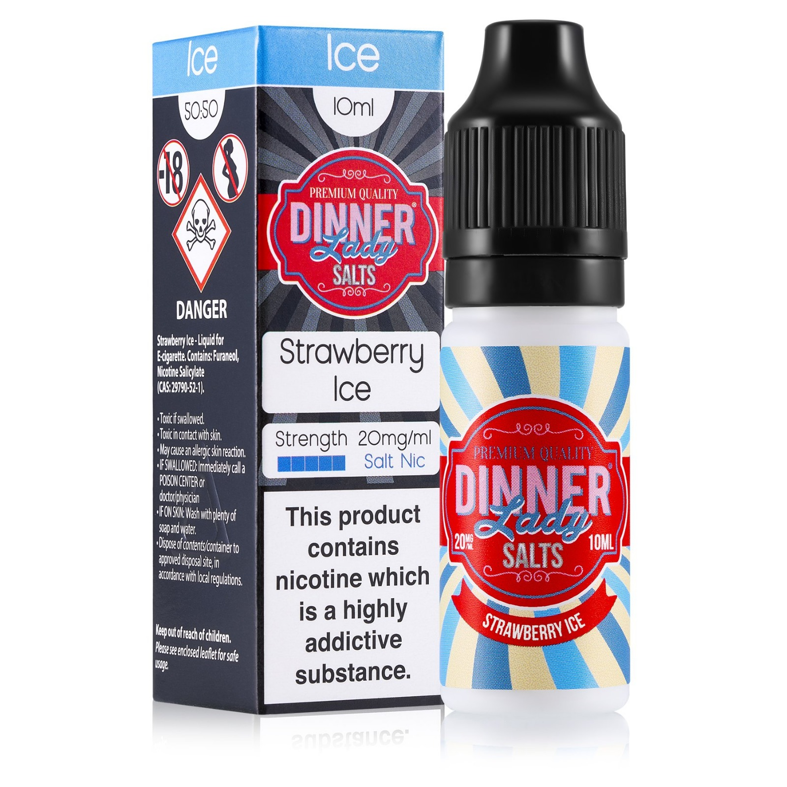 10 ml Dinner Lady Nic. Salts - Strawberry Ice 20 mg/ml