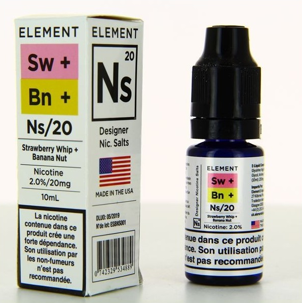 10 ml Element Nic. Salts - Strawberry Whip Banana Nut 20 mg/ml