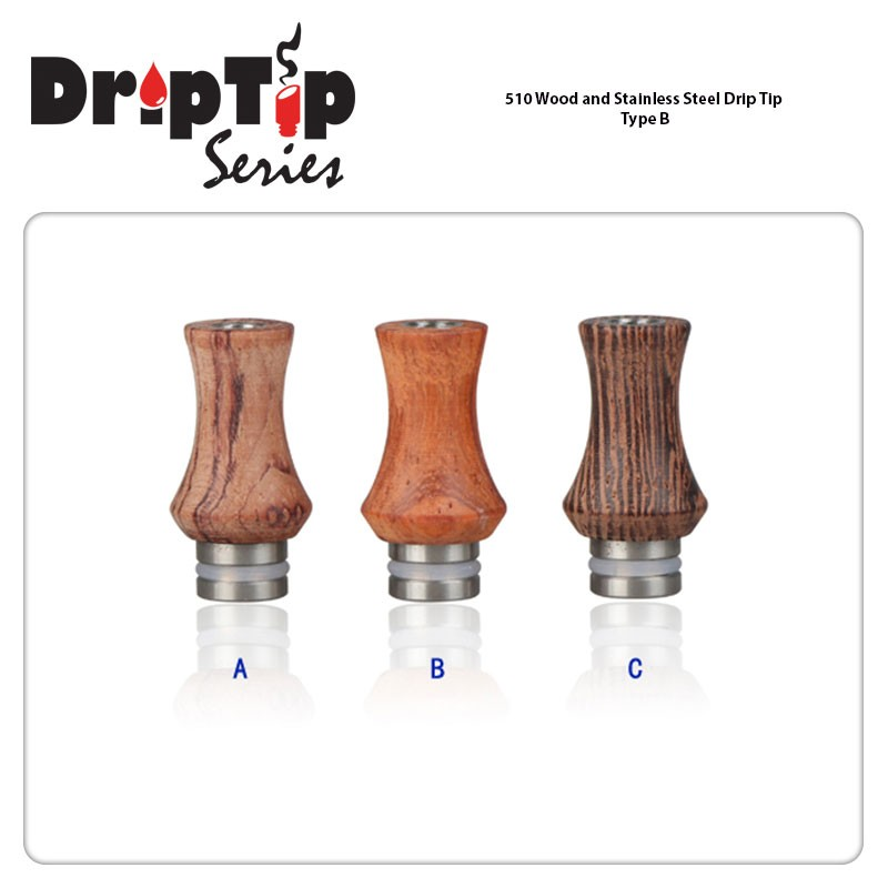Drip Tip Wood and Stainless Steel A